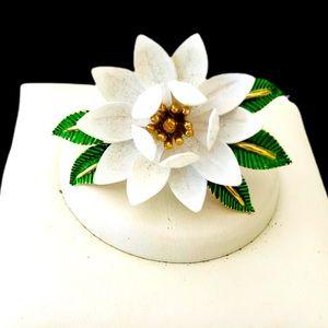 Crown Trifari Brooch lotus flower with white petal